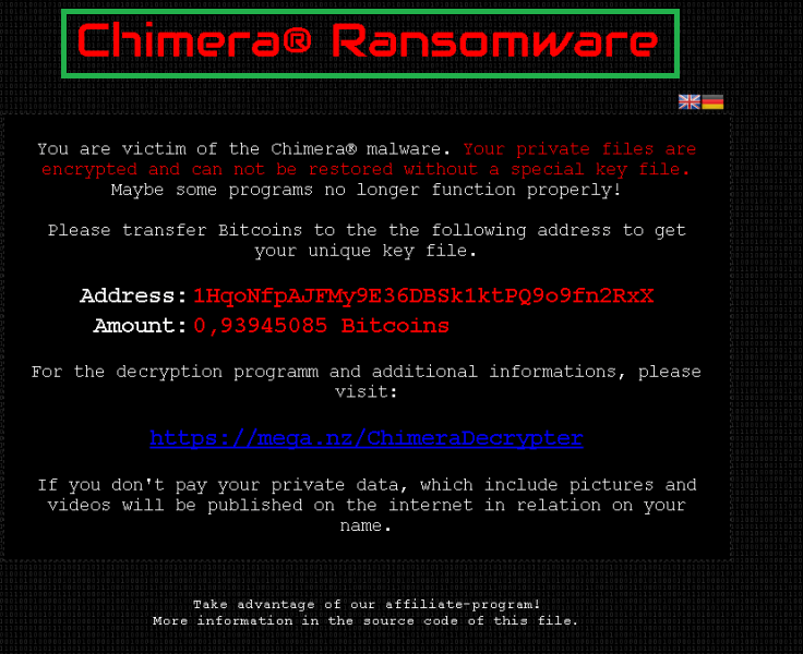 Chimera Ransomware decryption keys are now available.